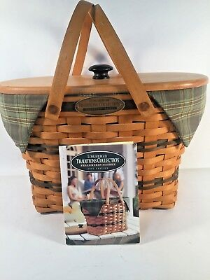 Traditions Fellowship Longaberger Basket Signed,1997 Cloth Liner, Lid