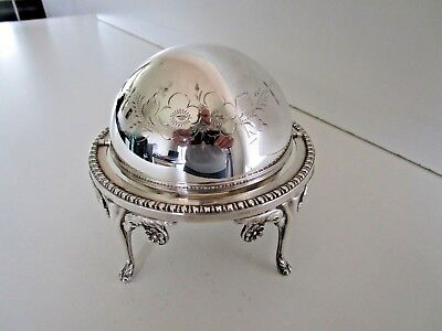 Silver Plated Revolving Top Butter, Caviar Dish, English