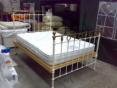 Antique Cast Iron Double bed frame with mattress, brass ends pine slats