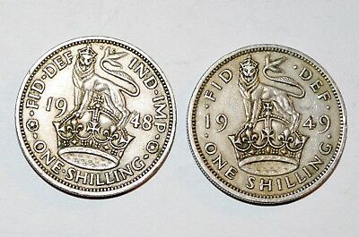 1948 1949 GREAT BRITAIN ONE SHILLING lot lion coins FINE COLLECTIBLES