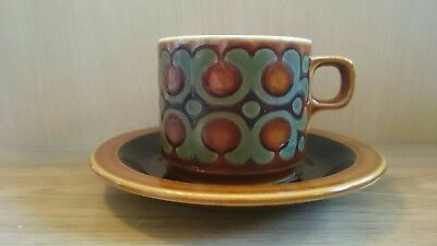HORNSEA BRONTE TEACUP AND SAUCER Vintage Retro Collectable