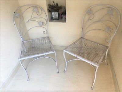 2 Vintage White Wrought Iron Art Nouveau Style Patio Chairs Ivy Back Weave Seats
