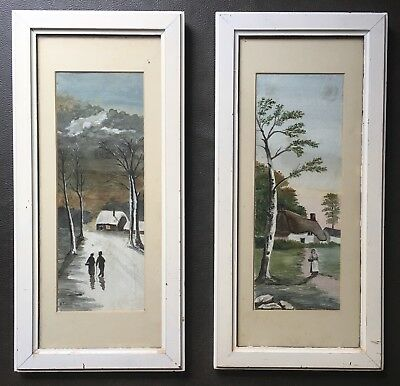 Antique Pair Of Original Irish Art Watercolour Paintings Signed By W Pierpont