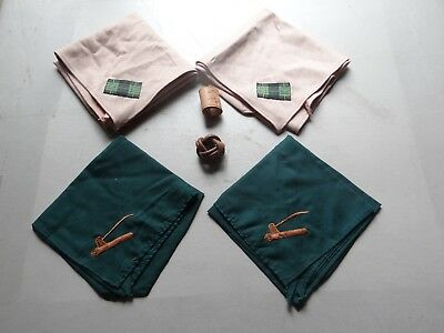 6 piece Lot of Woodbadge Neckerchiefs and Slides  BSA Boy Scouts