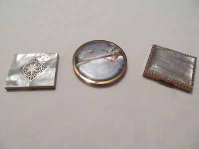 Vintage Lot of 3 Women's Makeup Compacts Judy Lee Jewels, England Made, Unknown