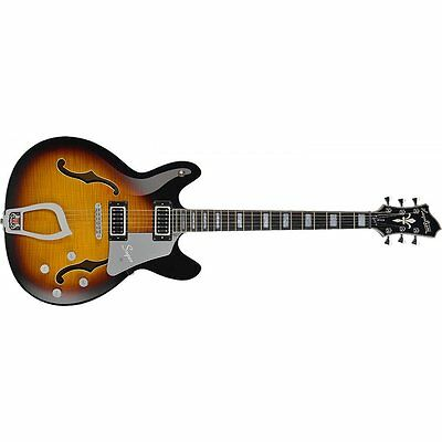 Hagstrom Super Viking Hollow Body Guitar in Tobacco Sunburst +Cable