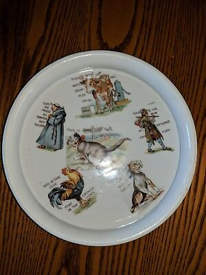 "Antique-Three Crown-Germany- Baby Plate-""THE HOUSE THAT JACK BUILT""- Child Dish"