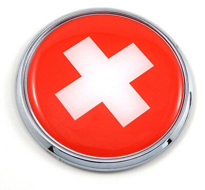 "Swiss Switzerland Flag 2.75"" Car Chrome Round Emblem Decal 3D sticker badge"