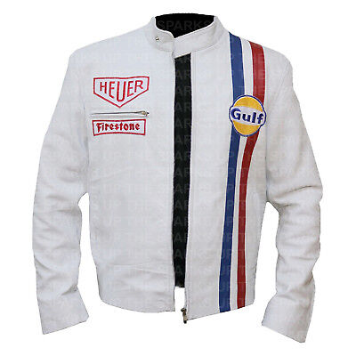 Steve McQueen Le Mans Gulf Racing Track Stripes Faux Leather Jacket Halloween