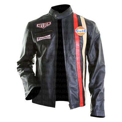 New Steve McQueen Le Mans Gulf Track Racing Stripes Leather Jacket - BEST SALE