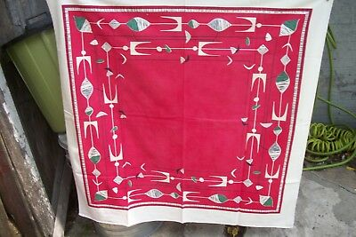 "Vtg 1950's Mid Century Modern Mobile Tablecloth 46"" X 47"" Looks Unused Red Mcm"