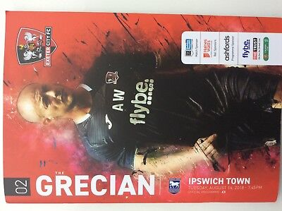 Exeter City V Ipswich Town Match Programme 14/8/18 Carabao Cup