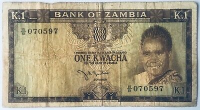 Bank Of Zambia (Northern Rhodesia) One Kwacha Banknote Kaunda Zulu