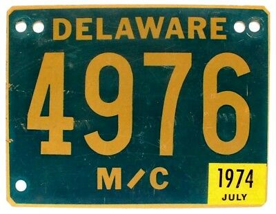 Vintage Delaware 1974 MOTORCYCLE License Plate, 4976