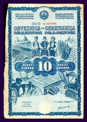 Yugoslavia 10 DINARA Bond for Road reconstruction 1968