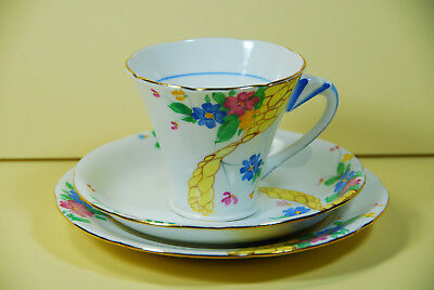 Grafton Art Deco Trio - Cup, Saucer and Side Plate c1935+ England