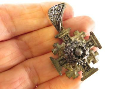 Vintage Etruscan 900 Silver Jerusalem Cross With Large Bail