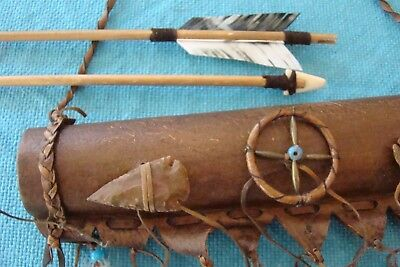 """Navajo Quiver w/3 16"""" arrows Carved Arrowheads, Medicine Wheel Feathers Leather!"""