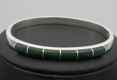 Ladies' Solid Sterling Silver Emerald Coloured Bangle 32.4 Grams Vintage