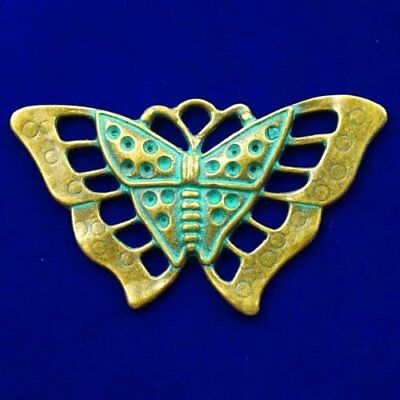 Carved Brass Bronze Butterfly Pendant Bead 56x32x3mm L60429