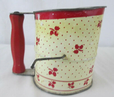 Vintage Flour Sifter Red White Flowers Wooden Handle Tin