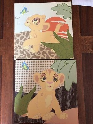 EUC Disney Baby Lion King 2 Piece Canvas Wall Art 12 x 12 - 2 Pictures Like New!