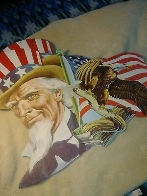 Vintage 4th of july Die Cut UNCLE SAM BALD EAGLE eureka lot of 3