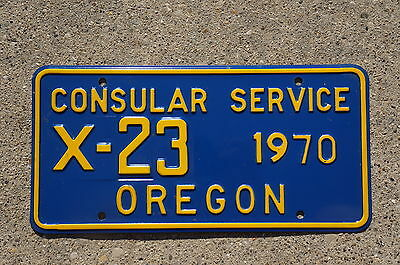 1970 Oregon Consular Service License Plate # X-23   High Quality