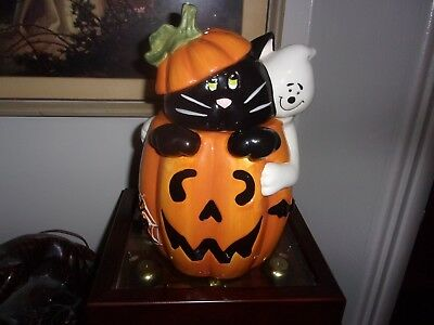 Halloween Cookie Jar David's Cookies ~ Pumpkin Ghost Black Cat  Jack O Lantern
