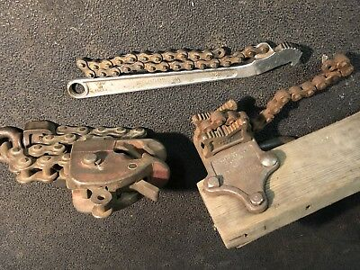 3 Vintage Chain Wrench Hoist Vulcan Williams Ratcliff Wizard