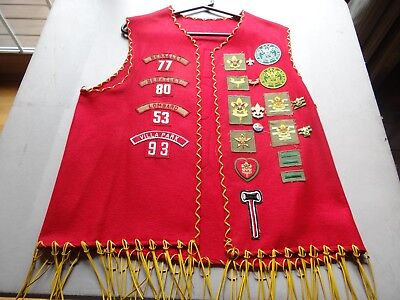 Vintage BSA Boy Scout Vest w/ Patches 1950's-60's Du Page Area Council Illinois