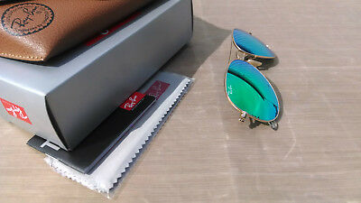 Womens Authentic Ray Ban Aviator Matte Gold Flash Mirror Green 112/19 Small 55mm