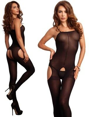 Black Opaque Suspender Bodystocking,Catsuit,Crotchless Bodysuit,Full Body Tights