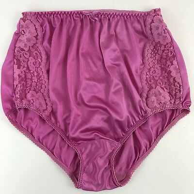 Vtg Maidenform BRIEF ENCOUNTER Panty NYLON Sz 6 / Medium Pink Floral Lace Sides