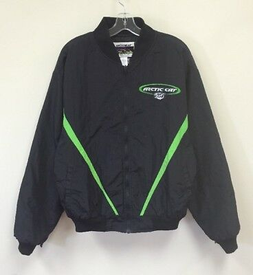 Vintage Arctic Cat Snowmobile Jacket Neon Green Black Size X-Large
