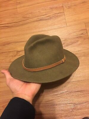 EDDIE BAUER MENS Olive WOOL HAT-SIZE S -LITE FELT-USA MADE-PREOWNED-LEATHER BAND