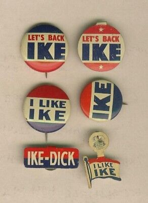 (6) Dwight D. Eisenhower Presidential Campaign Buttons