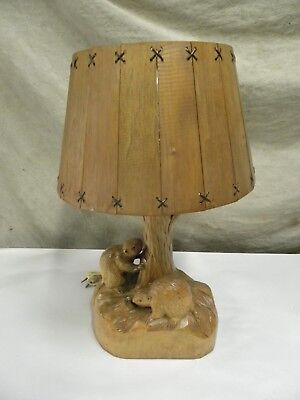 Vintage Folk Art Clement Dube Rustic Wood Carved Beaver Lamp Cabin Lodge (A45)