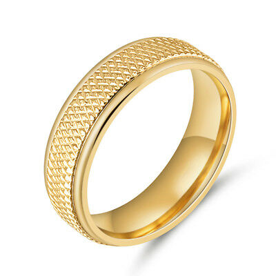 316L Stainless Steel 18K Gold Plated Band Wedding Engagement Rings Size 7-10