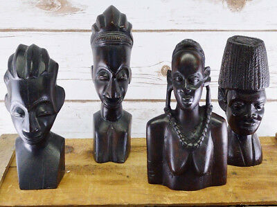 Vintage Lot Of 4 African Bust Hand Carved Ebony Wood Bassa Massai Tribal Statues