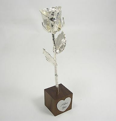 "8"" Silver All Dipped Rose In ""I Love You"" Stand (Free Anniversary Gift Box)"