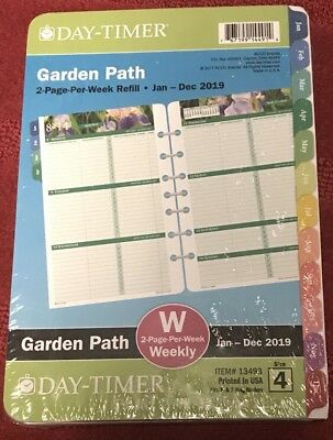 Day-Timer Garden Path 2019 Planner Refill 2 Pages Per Week Size 4 13493