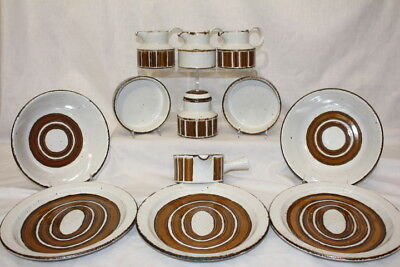 Lot of 13 Pc. Midwinter Serving Set Earth Stonehenge Brown Stripes Wedgwood