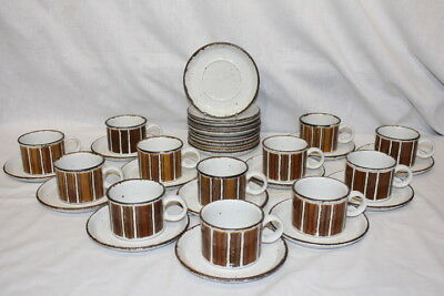 Lot of 36 Pc. Midwinter Cups and Saucers Earth Stonehenge Stripes Wedgwood