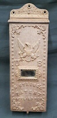 Antique Cast Iron U.S. Letter Mail Box With Eagle Design By Peekskill Flow Works