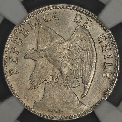 1895-So NGC AU58 CHILE 20 CENTAVOS KM-151.1 ONLY 146,000 MINTED