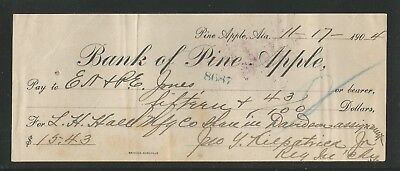 Bank of Pine Apple, Alabama - Check - Nov. 17, 1904