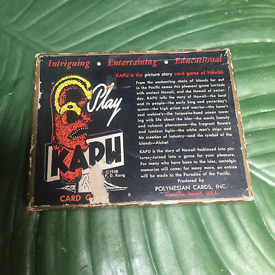 Vintage Kapu Tiki Card Game, Playing Cards, 1960s with Instructions