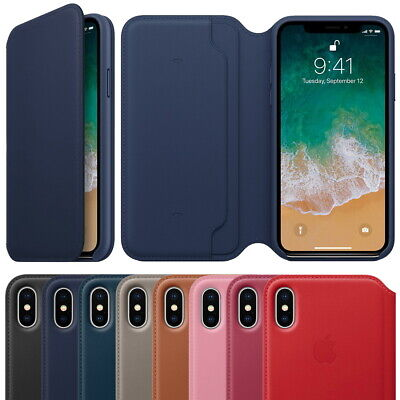 For iPhone X XS Max Leather Folio Cover Flip Wallet Case Smart Sleep Wake Up OEM