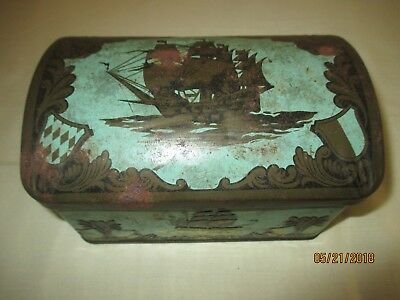 Vintage DAHER hinged Metal Tin 11101 Tall Ships Made in England
